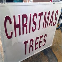 Though trees not the specific item, this Vintage Christmas-Trees Sign Prop was a good introduction and segue to Evergreen decorations just beyond. Retail Fixtures, Store Fixtures, Vintage Props, Antique Stores, Visual Merchandising, Christmas Trees, Hanukkah, Vintage Christmas