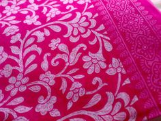 Persian Rose - Block Print Floral Indian Fabric Cotton White Pink. $3.00, via Etsy.