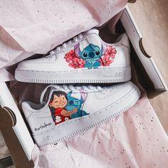 Lilo & Stitch x Cute Nike Shoes, Cute Nikes, Nike Air Shoes, Nike Custom Shoes, Jordan Shoes Girls, Girls Shoes, Moda Sneakers, Shoes Sneakers, Shoes Jordans