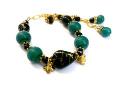 Stone  bracelet.Green bracelet.malachite by Jewelry2Heart on Etsy