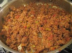 Picadillo Puertorriqueño  Basic Recipe    1 lb. lean ground beef  ¼ cup ready made sofrito  ½ cup diced onions  ½ cup diced bell pepper (green and yellow or red)  ½ cup chopped cilantro  2 recao leaves  ¼ cup sliced olives  1 tbsp. capers  salt and pepper to taste  4 oz tomato sauce