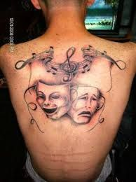 Afbeeldingsresultaat voor musical theater masks Full Leg Tattoos, Laugh Now Cry Later, Drama Masks, Musical Theatre, Theater Masks, Skull, Face, The Face, Faces