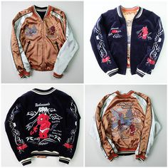 TEDMAN Ted Company Japan Little Red Evil Fuji-san Mt. FujiDevil Skull Punk Yakuza Tattoo Art Biker Sukajan Velveteen Jacket - Japan Lover Me Store