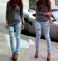 <3 i want some like this. tore but not too much. i want to get lace leggings and put it under , adorable!