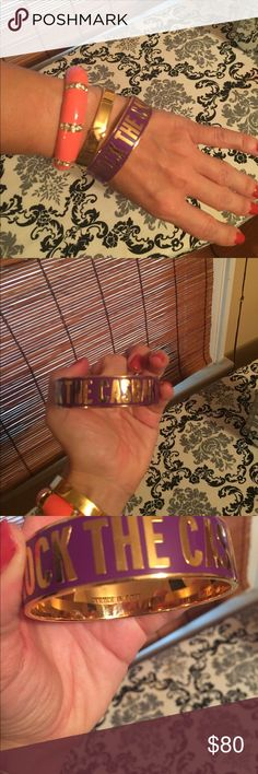 Stack of 3 bangles Kate Spade J.Crew Stack of 3 bangles ... two are Kate Spade (purple Rock the Casbah and gold click clack spade bangle) and J.Crew hinge bracelet in neon rose. Not selling items separately! You get all 3! kate spade Jewelry Bracelets