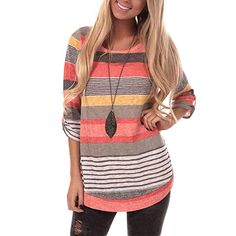 274e15c54 DREAMLOVER Women Loose Spring Striped Tunic Shirt Casual Long Sleeve Tops  Blouse at Amazon Women's Clothing