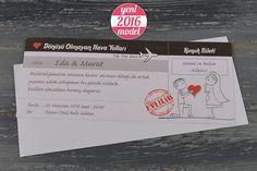 Uçak Bileti Şeklinde Karikatürlü Düğün Davetiyesi 20206