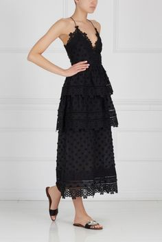 Кружевное платье Ivy lace trim midi Self-Portrait
