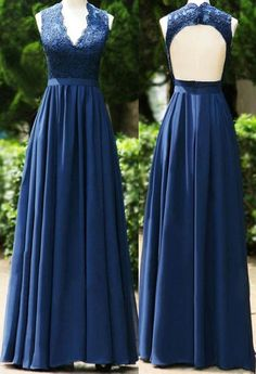 V-neck Backless Long Prom Dress Bridesmaid Dress Mother of The Bride Dress Pretty Dresses, Sexy Dresses, Blue Dresses, Chiffon Dresses, Fall Dresses, Long Dresses, Formal Dresses, Dark Blue Bridesmaid Dresses, Navy Blue Bridesmaids