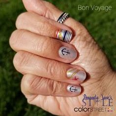 Beach, boats, fishing, toes in the sand... Bon Voyage nail polish strips put me in the mood!  *  Art design sets are always Buy 3, Get 1 Free.  *  #prettynails #nailpolishstrips #BeColorful #BeBrilliant #BeColorStreet @becolorstreet #AmandaJanesStyle