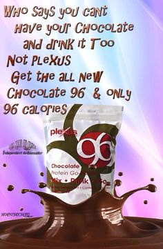 My favorite! Who says you can't have chocolate and be healthy! Best shake recipe...1 individual packet of Plexus P96 chocolate protein, banana, 2 tablespoons of peanut butter, almond milk and ice! Yummy www.moorekim.myplexusproducts.com