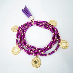 purple coin bracelet Coin Bracelet, Beaded Bracelets, Coins, Charmed, Purple, Jewelry, Coining, Jewlery, Rooms