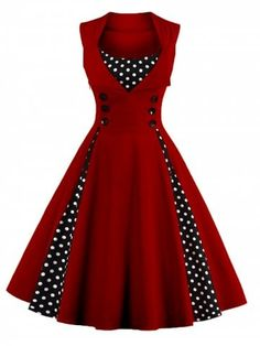 WINE RED Polka Dot Retro Corset A Line Dress 2XL