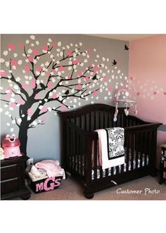 Baby Nursery Room, Terrific Black Baby Nursery Design For Baby Girl With Black Crib And Great Tree Wall Decals Also Purple Pink Wall Interior: Cute Baby Girl Nursery Decoration Ideas With Cool Crib Design Cherry Blossom Tree, Blossom Trees, Cherry Tree, Cherry Blossom Nursery, Cherry Baby, Nursery Wall Decals, Baby Nursery Decor, Wall Mural, Baby Nursery Ideas For Girl