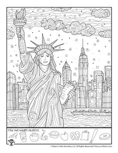 New York Statue of Liberty Hidden Picture New York Activities, Elderly Activities, Stem Activities, Activities For Kids, Hidden Object Puzzles, Hidden Picture Puzzles, Games To Play With Kids, Art For Kids, Hidden Pictures Printables