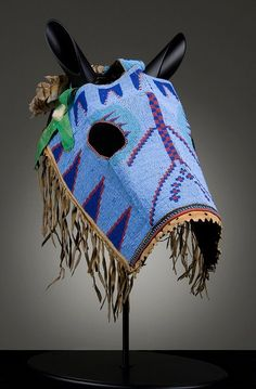 Nakoda (Alberta), Horse Mask, beads/leather, c. I Love the Way the True Americans Decorated Their Horses, the Horse was Part of the warrior. Native American Horses, Native American Beauty, Native American Artifacts, Native American Beadwork, American Indian Art, Native American History, American Symbols, American Women, Native Indian