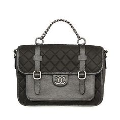29206 auth CHANEL black quilted leather Satchel Bag Purse LIMITED EDITION