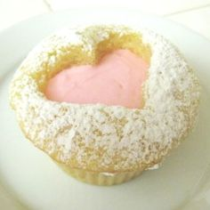 Pink Lemon cut-out heart cupcakes Heart Cupcakes, Lemon Cupcakes, Baking Cupcakes, Yummy Cupcakes, Cupcake Recipes, Dessert Recipes, Desserts, Decorate Cupcakes, Cupcake Day