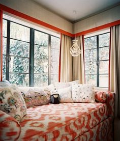 Linen panels and valances with bold orange banding