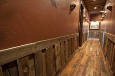 wainscot, ceiling, floor using recycled woods; from trestlewood.com