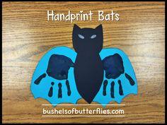 Handprint Bats Art, Halloween Projects, Kindergarten Fun