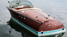 """1962 Gunter Sach's Classic Riva Super-Ariston Launch """"DRACULA III"""" with Chrysler 'model 275 bhp engine. The life and legacy of the playboy art collector . So Gentleman Modern Wooden Speed Boats, Wood Boats, Riva Yachts, Fishing Yachts, Riva Boat, Classic Wooden Boats, Classic Boat, Cabin Cruiser, Wooden Boat Plans"""