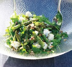 Barbecued British Asparagus, Rocket, Goat's Cheese and Pine Nut Salad