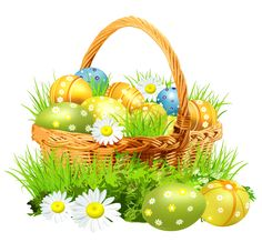 Easter Basket with Eggs and Daisies. It would be so cute to actually make this for the house for decoration
