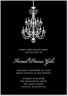 Classic Chandelier - Corporate Event Invitations in Black or Chocolate | Sarah Hawkins Designs
