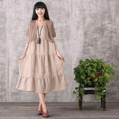 Women summer sleeveless loose cotton linen dress&hollow top