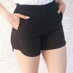 Detailed Black Shorts Textured Diamond Dotted detail Shorts in the perfect length. 2 side pockets, dress them up with a crop top & blazer for a chic look. Junior sizing. Sandals available on my page as well :)  Made out of 100% Polyester Shorts