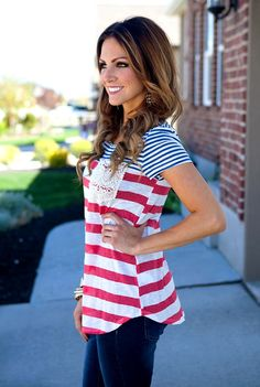 Stripe Tops with Lace Pocket Simple Style, Style Me, American Corn, Fall Outfits, Cute Outfits, Coral Top, Nautical Looks, Cute Tops, Type 1
