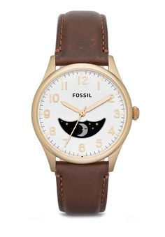 Buy Fossil The Agent Three-Hand Moonphase Leather Watch | ZALORA HK