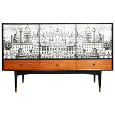 "Rare Circa 1950 Buffet with a ""Rome"" Decor by ""Fornasetti"", ca.1960 - England 