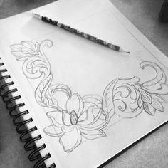 Morning doodles ✏️ #magnolias #doodles #leatherdesign