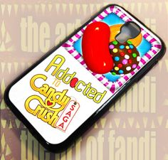 Addicted To Candy Crush For iPhone 4 or Black Rubber Case Iphone 4, Iphone Cases, Samsung Galaxy S4, Black Rubber, Addiction, Crushes, Candy, Prints, Handmade