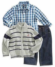 Nautica Baby Set, Baby Boys 3-Piece Sweater, Shirt and Jeans