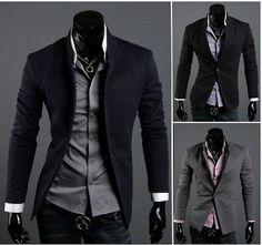 Korean Style Men's Mandarin Collar Blazer