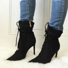 Lace up Pointy Site Zipper Booties