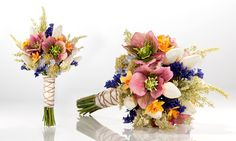 WIld flower bouquet with multiple colors (does not reflect any particular color palette for wedding). I love the idea of wrapping the bouquets in twine, burlap, lace.
