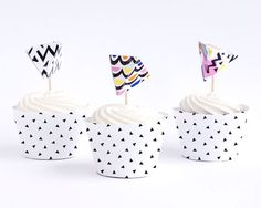 Abstract Print 3D Cupcake Toppers by The Chaos Club