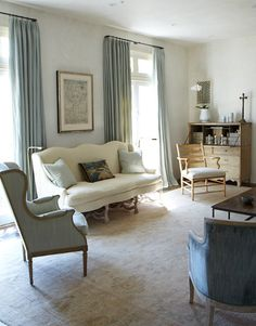 living room...soft blues and neutrals by CAROL GLASSER INTERIORS
