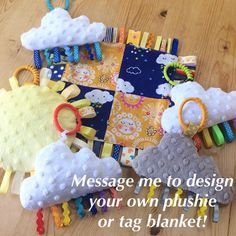 Bea'spoke cloud rainbow ribbon tag plush comforter baby