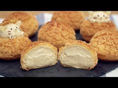 Choux au Craquelin [Cream Puff] - クッキーシューの作り方 - YouTube Chocolate Ganache Tart, Chocolate Caramels, Chocolate Cookies, Cheese Pastry, Choux Pastry, Puff Pastry Desserts, No Cook Desserts, Brownie Cookies, Cake Cookies