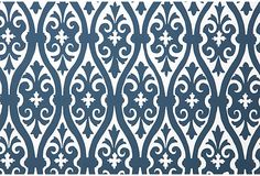Torino Damask Wallpaper, Blue & White