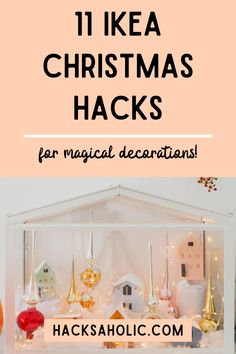 Some original Christmas decorations made with Ikea products. These Ikea Christmas hacks are stunning. #ikeachristmashacks #christmashacks #ikeahack Christmas Tree Base, Ikea Christmas, Christmas Hacks, Woodland Christmas, Magical Christmas, Christmas Mugs, Christmas Candles, Christmas Decorations, Glass Bell Jar
