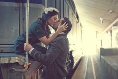 Engagement photo on the train