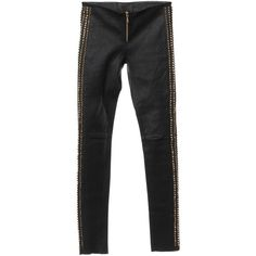 Pre-owned Leggings with studs trim (107.650 HUF) ❤ liked on Polyvore featuring pants, leggings, black, genuine leather leggings, studded leggings, leather pants, legging pants and leather trousers