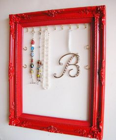 Hanging Jewelry Display & Jewelery Organizer Ornate Wood Frame Handpainted in Bright Red Bedroom, Dorm Room Gift