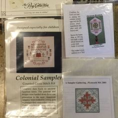 3 Colonial Samplers Ornament Counted Cross Stitch + Heritage Series Guild KITS